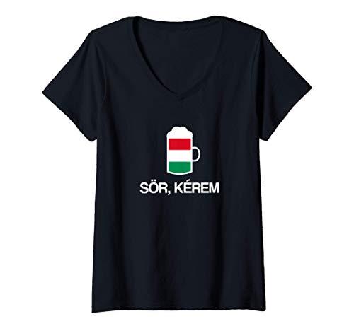 Damen (Ein) Bier bitte auf Ungarisch Ungarn Bier T-Shirt mit V-Ausschnitt