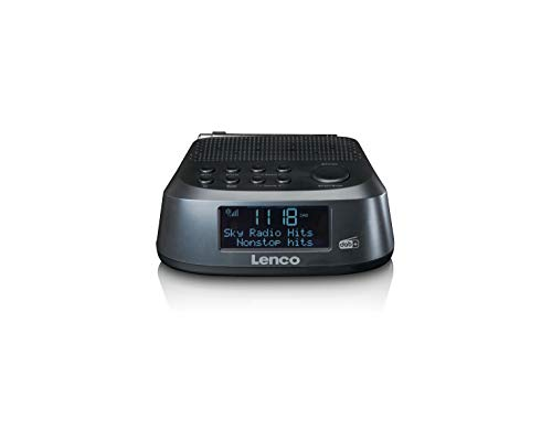 Lenco Radio Despertador CR-605 – Radio Dab+ y FM – Pantalla LCD de 2,6 Pulgadas – 30 emisoras para Cada Dab+ y FM – Dos alarmas – Función de repetición y regulador de Intensidad – Negro