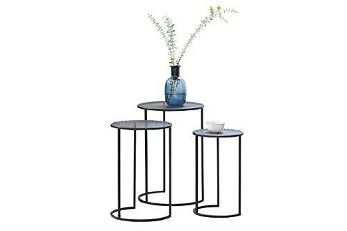 LIFA LIVING Moderne Bijzettafels, Set van 3 Ronde Salontafels, Zwarte Koffietafels, Metalen bijzettafeltjes voor Woonkamer, Keuken