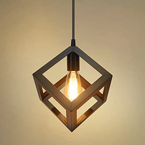 Industrial Hängeleuchte Esstisch Metall für wohnzimmer küche E27 Pendelleuchte (schwarz)