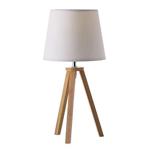 Lámpara de mesa nórdica de madera blanca de 20x41 cm