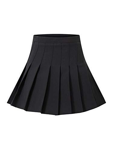 N / D Jupe Plissée Femme Fille Taille Haute Mini-Jupe Patineuse A-Line Skieur Jupe Courte Doublée avec Short Jupe Tennis Uniformes (Black, M)