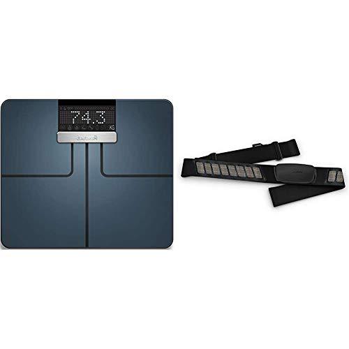 Garmin Unisex Index Körperanalysewaage, Gewichts und Körperanalysen, BMI, Körperfett, ANT+/Bluetooth Kompatibilität & Premium-Herzfrequenz-Brustgurt Dual Basic, Herzfrequenzdaten in Echtzeit
