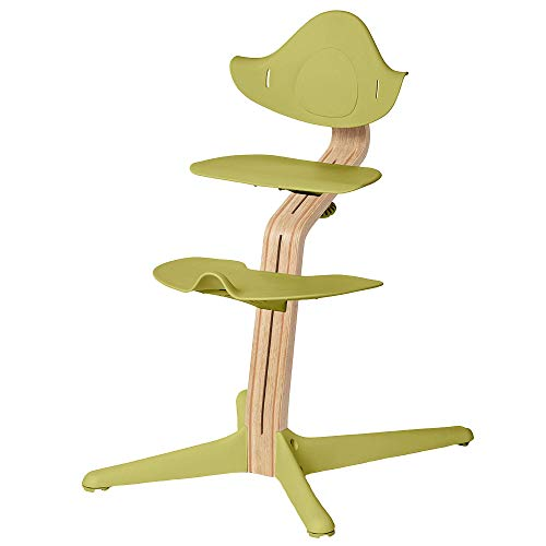 Nomi Hochstuhl, Individuell gestalten, 4 holz- und 10 farbevarianten, Bügel, Kissen,Tisch, Gurt, Baby wippe, Spielbügel und Matratzen als Zubehör wählen (Grün, weiß geölt)