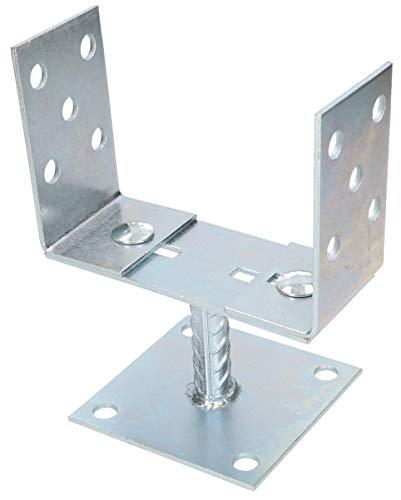 KOTARBAU® U-Pfostenträger 0-165 mm Breitenverstellbar zum Aufschrauben Silber