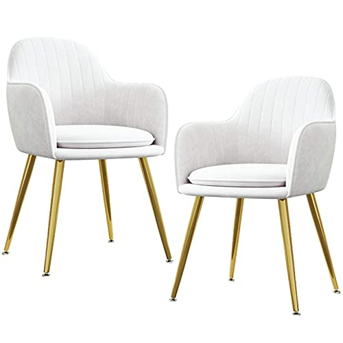 HYRGLIZI Dining Chair Accent Chair Set of 2 for Living Room Side Chair Guest Chair Velvet Fabric Padded Seat Armrest with Metal Legs Indoor Coffee Shop (Color : White)