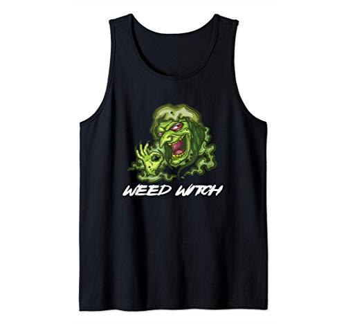 Halloween Weed Witch Disfraz marihuana cannabis Camiseta sin Mangas