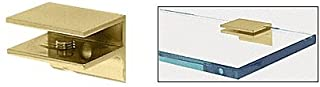 CRL Brass Finish Solid Brass Square Glass Shelf Clamp with Support Leg