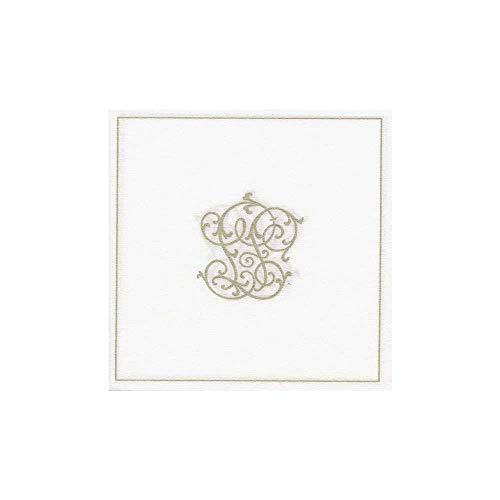 20 serviettes mariage papier jetable 25x25cm, en intissé Monogramme Or