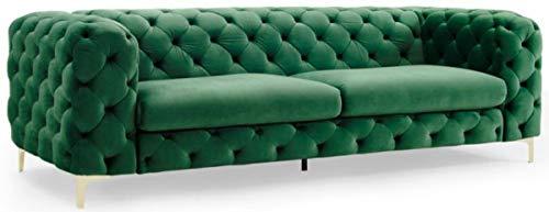 Casa Padrino sofá de Terciopelo Chesterfield Verde Esmeralda/Oro 240 x 97 x A. 73 cm - Sofá de Salón - Muebles de Salón Chesterfield