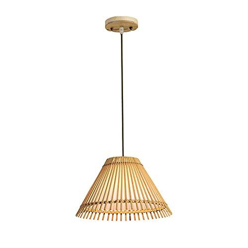 NAMFXH Bamboo Art Japanese Pendant Light Handmade Chandelier Lighting Decoration Light Fixtures Cage Lantern Pendent Lamp Adjustable E27*1 Ceiling Hanging Light (D12.6in)