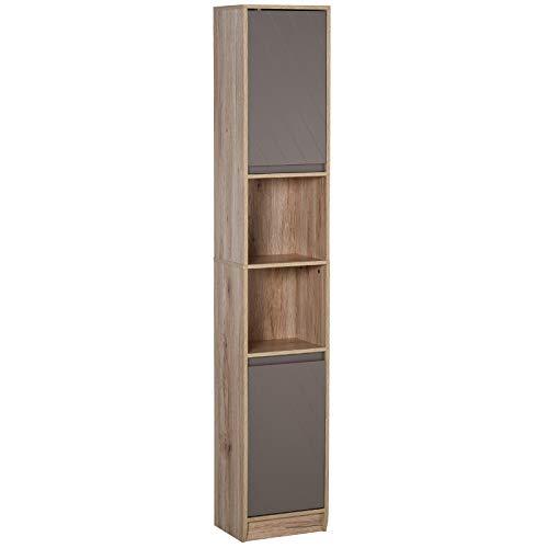 HOMCOM Badezimmerregal, Badeschrank, Küchenschrank, 2 Türschränke, 2 offenen Regalen, Spanplatte+MDF, 30 x 24 x 170cm