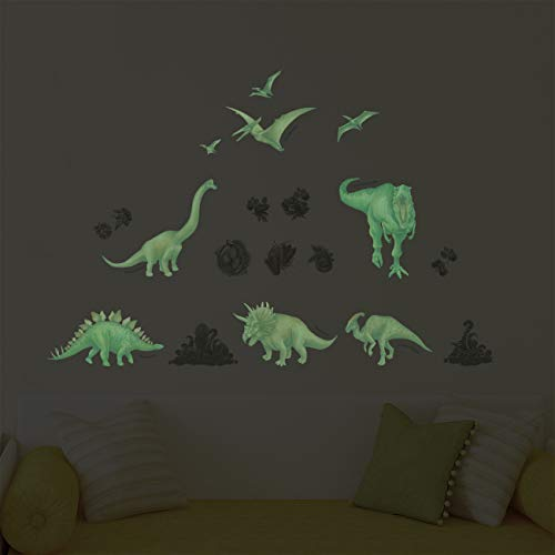 DECOWALL DS-8034G Si illuminano al buio Acquerello Dinosauro (Piccolo) (Ver. Inglese) Adesivi da...
