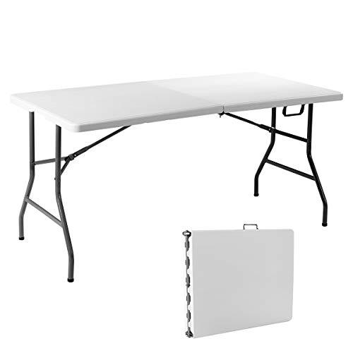 GIANTEX Mesa de camping plegable, mesa plegable de jardín con asa, mesa de comedor con patas antideslizantes, color blanco (153 x 74 x 74 cm)