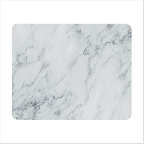 Mauspad Marmor-Optik I 24 x 19 cm I Mousepad in weiß grau I Standard-Größe, rutschfest I schlicht modern I Stein-Optik Granit I dv_637