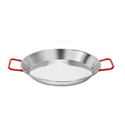 SHYOD Paella de Acero Inoxidable Pan marisco fríe Olla sin Palanca fritura Cocina Frito Pollo Plato de Fruta Herramienta de cocción (Size : 21cm)