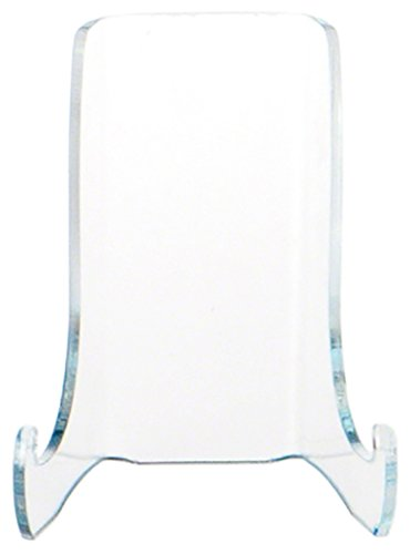 Plymor Clear Acrylic Small Flat Back Easel with Shallow Support Ledges, 3 H x 2.375 W x 2.25 D