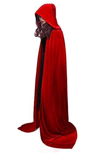 Funhoo Full Length Deluxe Velvet Cloak Cape Capa con Capucha Long Vimpire Cape para Navidad Halloween Disfraces de Cosplay Atrezzo Adulto 165cm (Rojo)
