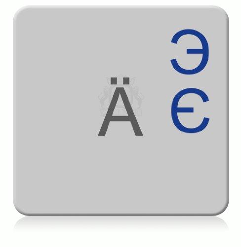Ukrainisch-Russiche Tastaturaufkleber, transparent, laminierte matte Oberfläche, für MAC (Apple) Tastaturen, Made in Germany, Blau