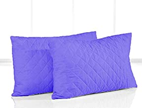 Linenovation Cotton Quilted Pillow Protector Dust Free Water Resistant Covers Pack of 2Pcs (20 inch x 36 inch)-Dark Blue