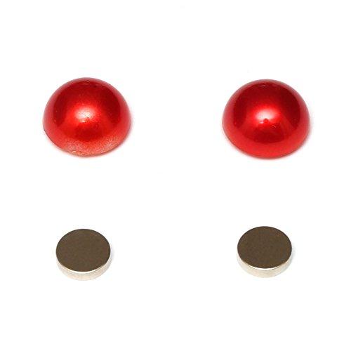 Idin Jewellery - rode acrylparels met platte achterkant magnetische oorbellen