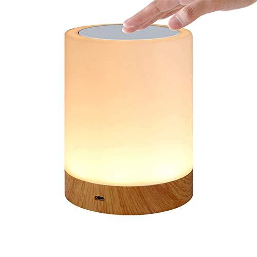 Lámpara de Mesa LED, Lámparas de Mesita de Noche con control táctil, Luz Nocturna Infantil de seis colores regulable para Salon Dormitorio Niños Bebé Ambiente