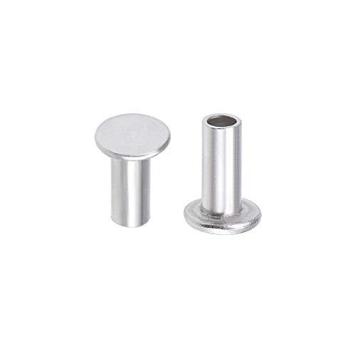 100 pezzi 3 mm x 7 mm alluminio Flat Head Semi-Tubular Rivets Silver Tone