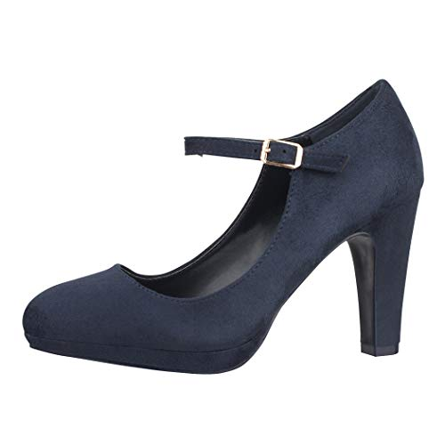 Elara Damen Pumps Riemchen High Heels Vintage Chunkyrayan BL692-PM Dk.Blue-36