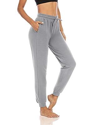 THANTH Womens Yoga Sweatpants Drawstring Workout Joggers Pants Loose Comfy Lounge Pants with Pockets Light Gray M