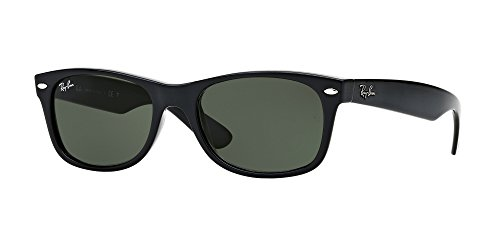 Ray-Ban RB2132 New Wayfarer Sunglasses Unisex (58 mm, Black Frame Solid Black Lens)