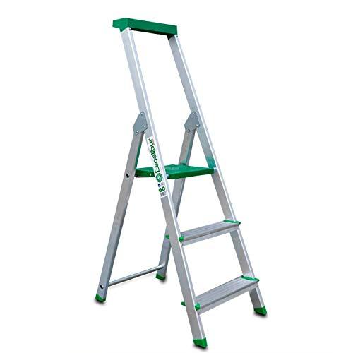Escalibur   ES.Dom   Escalera de Aluminio   Escalera 3 Peldaños   130x40x12 cm   Uso Doméstico   Utilizada en Trabajos de Bricolaje   Taco Antideslizante   Máxima Seguridad y Confort