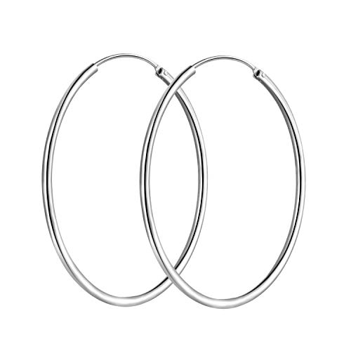 T400 Jewelers 925 Sterling Silver Polished Round Circle Endless Hoop Earrings,45mm