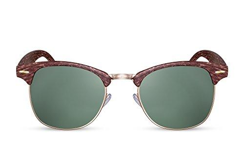 Cheapass Sonnenbrille Braun Holz-Optik UV400 Vintage Damen Herren