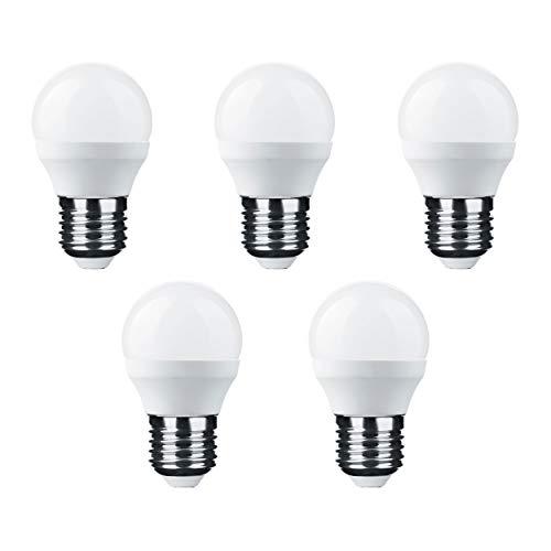 Candelastika 5 Stück LED MiniGlobe G45 6-45 Watt E27 860 600 Lumen Tageslicht nicht dimmbar – E27 Leuchtmittel - LED Glühbirne - LED Lampe - LED Glühlampe - LED Birne - LED Bulb – Tropfen