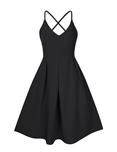 GlorySunshine Women's Deep V Neck Adjustable Spaghetti Straps Dress Sleeveless Sexy Backless Cocktail Party Dresses (XL, Black2) (Apparel)