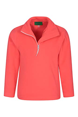 Mountain Warehouse Camber Kids Fleece Top - Lightweight & Breathable Sweater, Quick Drying Sweatshirt, Warm Pullover - Suitable for Winter Layering, Outdoors Coral 5-6 Years