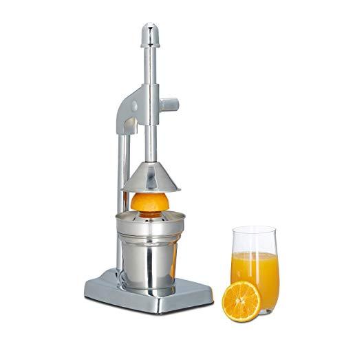 Relaxdays Hebel Saftpresse manuell, Fruchtpresse für Orangen, Zitruspresse HxBxT: 37 x 12 x 18 cm, silber