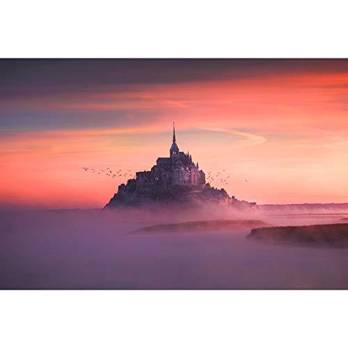 No Brands Mont Saint-Michel, Francia, Castillo al atardecer, impresiones artísticas, para colgar en la pared, decoración del hogar, placa de metal, decoración de pared para el hogar