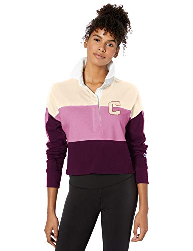 Champion LIFE Women's Rugby Cropped Collared TEE, Chalk White/Paper Orchid/vex Purple, X Large