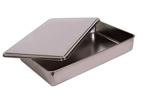 YBM HOME Stainless Steel Covered Cake Pan, Silver (Small-)