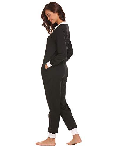 Schlafoverall Jumpsuit Damen Overall Pyjama Onesie Einteiler Lang Strampler Kuschelig Schlafanzug Nachtwäsche Langarmshirt Playsuit mit Reißverschluss - 4