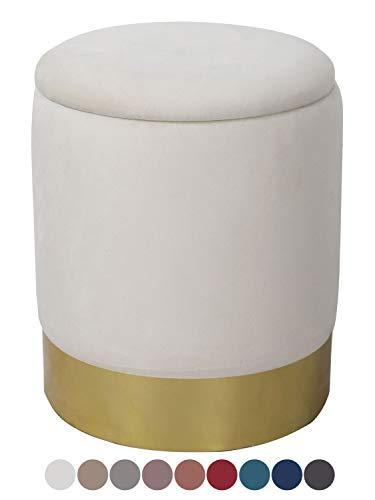 casamia Samthocker Sitzhocker Samt Pouf Sitzpouf Velour Hocker Hochwertig mit Stauraum u. Deckel Ø 31 H 38 cm Farbe Creme weiß