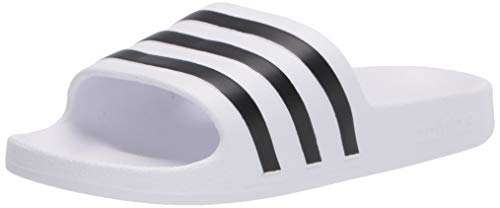 adidas Unisex Adilette Aqua Slide Sandal, White/Core Black/White, 5 US Men