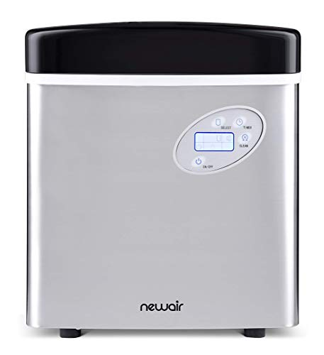 NewAir Portable Ice Maker 50 lb. Daily, Countertop Design, 3 Size Bullet Shaped Ice, AI-215SS, Stainless Steel (Renewed)