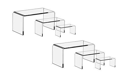 FlanicaUSA 6 Pieces Set - Clear Acrylic Display Riser Set, Acrylic Display Stand