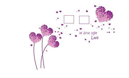 Meeoy Muurstickers voor thuis, keuken, kunst, romantisch, roze, liefde, bloemen, om zelf te maken, decoratie thuis, paars, liefde, klaverblad