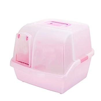 ZCY Enfermé Bac À Litière De Chat avec Long Couloir Extra Large Déodorant Bassin De Sable De Chat Résistant Aux Éclaboussures Toilette pour Chat Animal Litière (Color : Pink)