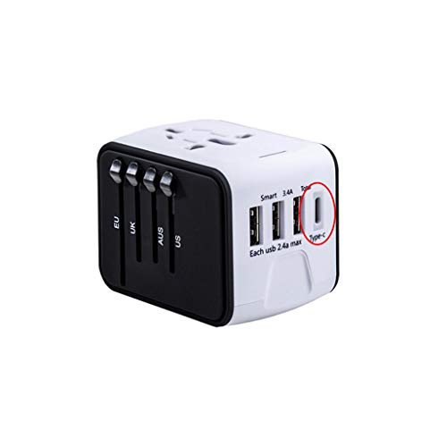 QWZ Adaptador de Viaje, Adaptador de Adaptador de Potencia de Viaje Universal AC Adaptador de Enchufe con 2.4A Tipo-C para EE. UU. UE UE UK AUS (Color : White, tamaño : 3USB+Type)
