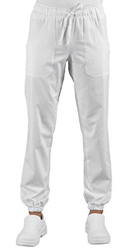 Pantaloni Medicale Infermiere Bianco Uomo Donna Con Elastico Sulla Caviglia Super Stretch 044878 (S)