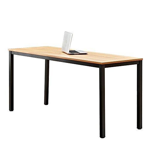DlandHome Computertafel, groot bureau, 160 x 60 cm, pc-tafel, bureautafel, hout, moderne vergaderruimte, tafel/eettafel voor kantoorwerk en huiswerk, teak & zwart
